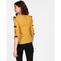Mustard Cut & Shout Bow Top Regular Mustard Cutout Georgette Casual Top IN1726MTOTOPYLW-177 QHJPWXV
