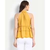 Mustard Olivia Top Relaxed Mustard Ruffle Georgette Casual Top IN1721MTOTOPYLW-786 DIXRUYN