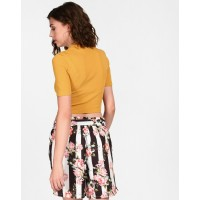 Mustard Sharon Cut Out Crop Top Skinny Mustard Cutout Cotton Crop Top IN1826MTOTOPYLW-178 PNBLYOM