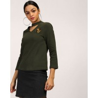 Olive Dion Embroidered Choker Neck T Shirt Regular Olive Cotton Tee IN1744MTOTOPGRN-420 DOVJNKR
