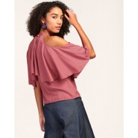 Pink Alma Ruffle Cold Shoulder Top Regular Pink Cold Shoulder Georgette Casual Top IN1804MTOTOPROS-123 HETCXDM