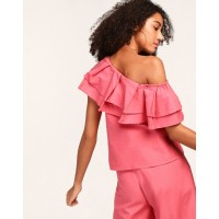 Pink Leol One Shoulder Ruffle Top Regular Pink Ruffle Linen Casual Top IN1805MTOTOPPNK-836 IRXVWOG