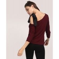 Port Lynn Embroidered One Shoulder Top Regular Knots Casual Top IN1732MTOTOPMAR-106 MAUWADL