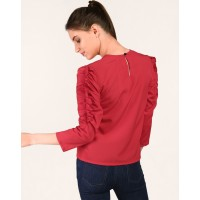 Red Astera Ruched Sleeve Top Regular Red Ruffle Casual Top IN1803MTOTOPRED-643 KMTHBPU