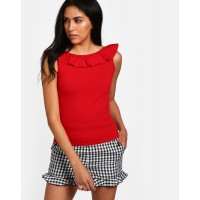 Red Emilia Ruffle Detail Top Skinny Red Ruffle Cotton Casual Top IN1815MTOTOPRED-198 DGQPHMC