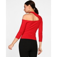 Red Jenny Cut Out Top Skinny Red Cutout Cotton Casual Top IN1819MTOTOPRED-151 OLFGASA