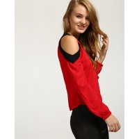 Red Privilege Cold Shoulder Top Straight IN1651MTOTOPMSL-191 WOBAGYT