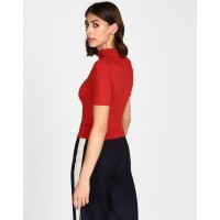 Red Sharon Cut Out Top Skinny Red Cutout Casual Top IN1826MTOTOPRED-175 ORBZWNV