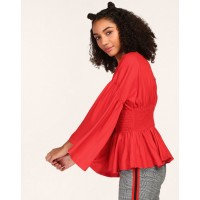Red Winston Cinched Waist Top Regular Red Casual Top IN1748MTOTOPRED-938 AMLPSLR