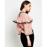 Rose Bet Lace Ruffled Bell Sleeve Top Regular Lace Ruffle Lace Casual Top IN1728MTOTOPPCH-278 LISZKZD