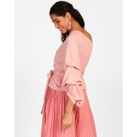 Rose Naomi Bishop Sleeve Top Regular Rose One Shoulder Georgette Casual Top IN1803MTOTOPROS-752 GRUOHXP
