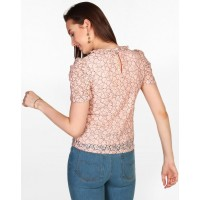 Rose Susie Lace Puffed Sleeve Top Regular Lace Casual Top IN1819MTOTOPPNK-229 YFMMMEQ