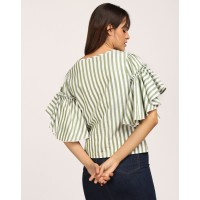 Striped Paula Bell Sleeves Top Box Striped Bell Sleeves Cotton Casual Top IN1803MTOTOPSTI-714 GKGKJNT