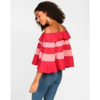 Striped Sara Off Shoulder Flared Top Striped Off Shoulder Casual Top IN1807MTOTOPMLT-755 MNJNDDM