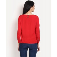 Sundays Red Top Relaxed Red Casual Top IN1440MTOTOPRED-226 LKKEPXQ