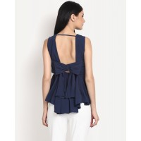 West Coast Navy Peplum Top Flare IN1436MTOTOPNVY-390 ZCLYXKM