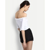 White Eliza Off Shoulder Top Regular White Off Shoulder Cotton Casual Top IN1726MTOTOPWHT-166 HUNNMGZ