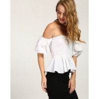 White Eudora Off Shoulder Peplum Top Regular IN1735MTOTOPWHT-623 KNNGTED