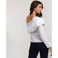 White Ramona One Shoulder Top Regular White Ruffle Cotton Casual Top IN1746MTOTOPWHT-646 YVQOQPD