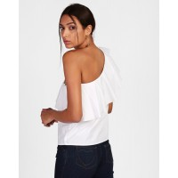 White Tamara Embroidered One Shoulder Top Regular White Cotton Casual Top IN1814MTOTOPWHT-106 XREDAOX