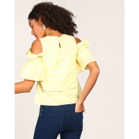 Yellow Mayo Cold Shoulder Top Regular Yellow Cold Shoulder Linen Casual Top IN1805MTOTOPYLW-978 YXSFYXA
