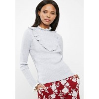ONLY Women Natalia ruffle sweater Grey & White NLRESQO
