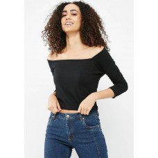 Cotton On Women Bridget square neck top Black BOWHXIC