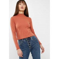 Cotton On Women Kylah mock neck long sleeve Burnt Orange AIBMQLR