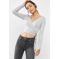 Cotton On Women Monique wrap long sleeve top Grey WOCQDIR