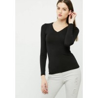 dailyfriday Women Fitted v-neck top Black HLQDQCW