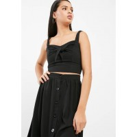 dailyfriday Women Knotted front cami top Black LMUFPAL