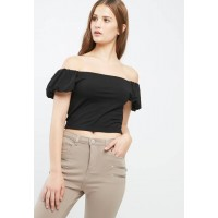 Missguided Women Puffball sleeve bardot top Black JQTXCFO