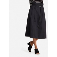 dailyfriday Women Belted high waisted midi skirt Black KZZPFAQ