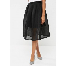 dailyfriday Women Bonded airtech pleated midi skirt Black XEVFKUJ