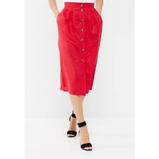 dailyfriday Women Button through midi skirt Red XIGNAQG