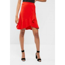 dailyfriday Women Ruffle wrap front skirt Red GCGRYVG