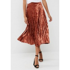 dailyfriday Women Velvet pleated midi skirt Rust DJTEEKR