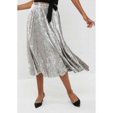 dailyfriday Women Velvet pleated midi skirt Silver TQCNIFA