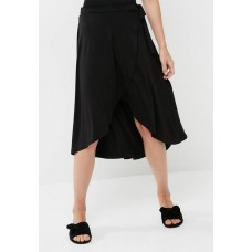 dailyfriday Women Wrap front high low skirt Black ZEMAUDQ