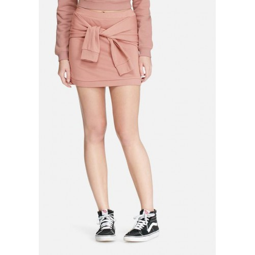 Daisy Street Women Sweat mini skirt with tie front co-ord Rose pink UOQYCTY