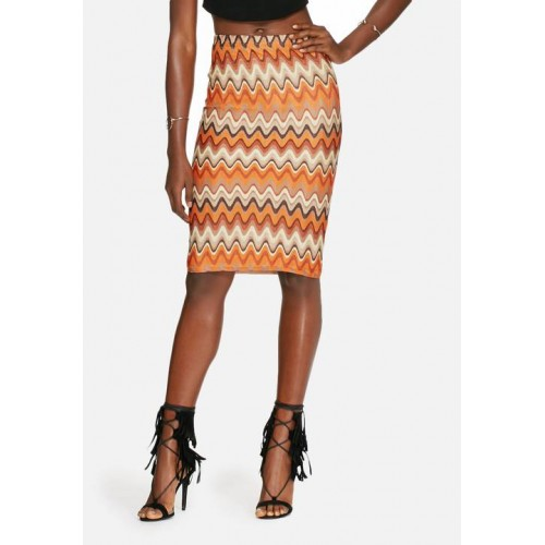 Glamorous Women Knit skirt Orange Brown & Cream TNRNWXI