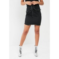 Missguided Women Black corset denim skirt Black ESAHAPH