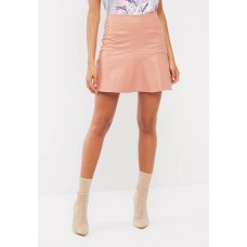 Missguided Women Frill hem faux leather mini skirt Pale Pink UIANTJN