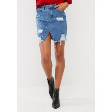 Missguided Women Pearl embellished denim skirt with silver chain KAVQZOA