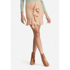 Missguided Women Stretch crepe frill front mini skirt Nude ELMOKPA
