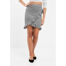 ONLY Women Gingham frill skirt Black & White BPUBRLQ