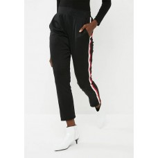 dailyfriday Women Side stripe pant - black Black Red & White QSLHRWP
