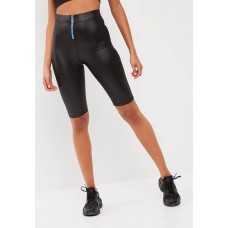 Missguided Women Active wet look cycling shorts Black MIAPYYB