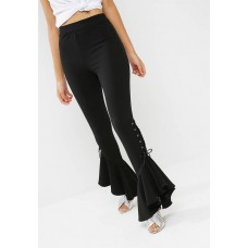 Missguided Women Lace up frill trouser Black EHQIVCL